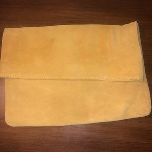 Mustard clutch perfect for winter and fall. Suede